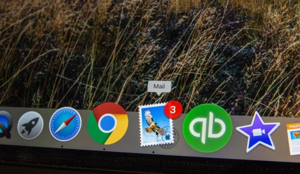 Email on a Mac computer screen